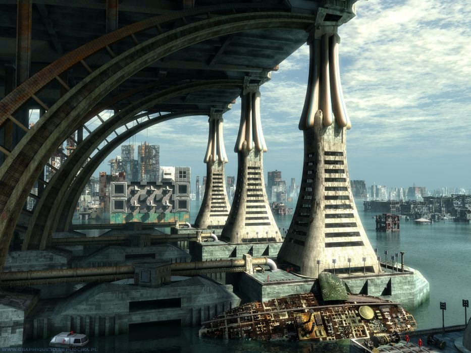 futuristic buildings wallpaper