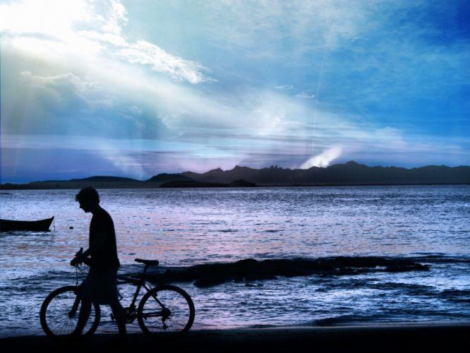 bicycles aurora borealis children sea wallpaper