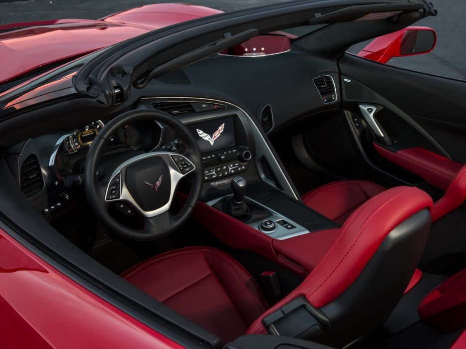 2014 Chevrolet Corvette Stingray Convertible (C-7) muscle supercar interior     g wallpaper