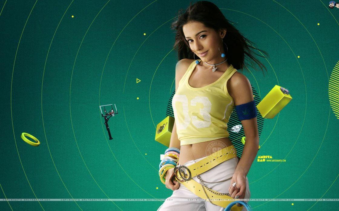brunettes women actress tank tops stomach Indian Amrita Rao exposed midriff green background wallpaper