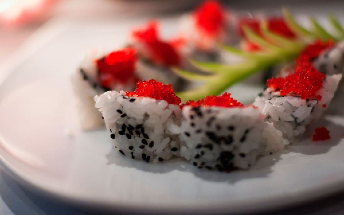 food sushi plates sushi rolls meal wallpaper