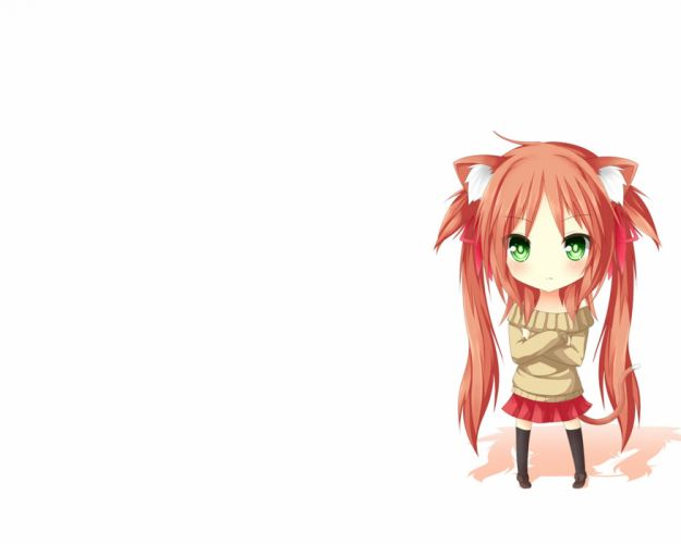 redheads chibi nekomimi green eyes anime simple background anime girls white background wallpaper