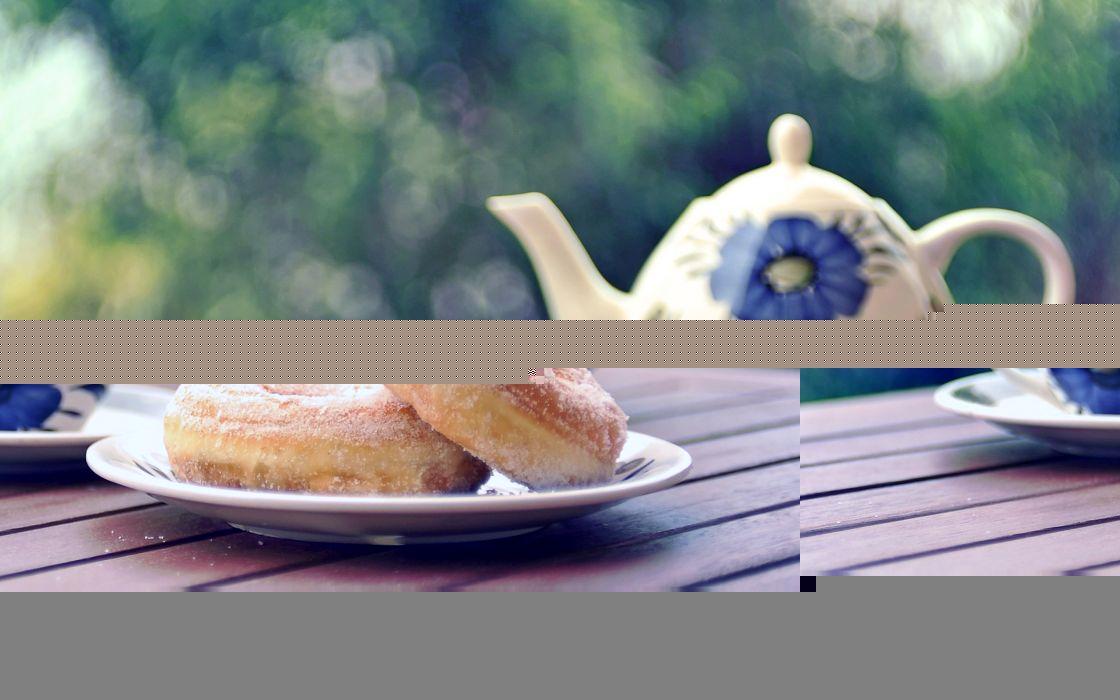 tea donuts bokeh wallpaper
