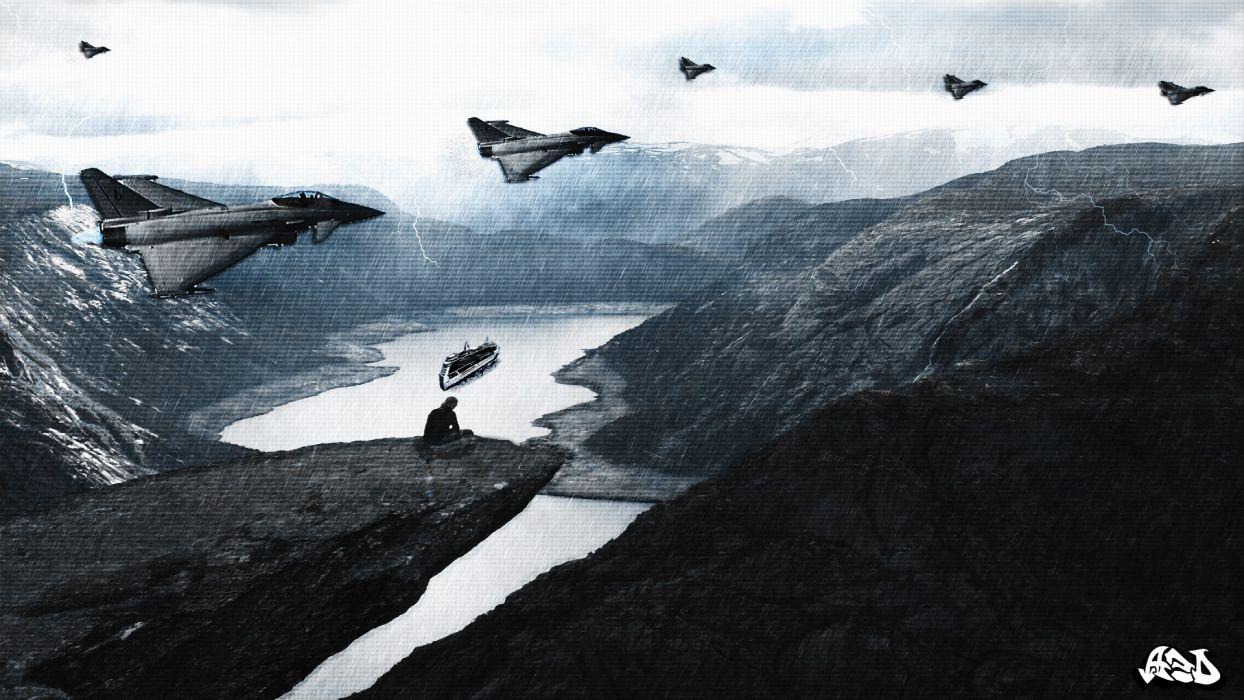 landscapes rain storm spaceships science fiction lone man wallpaper