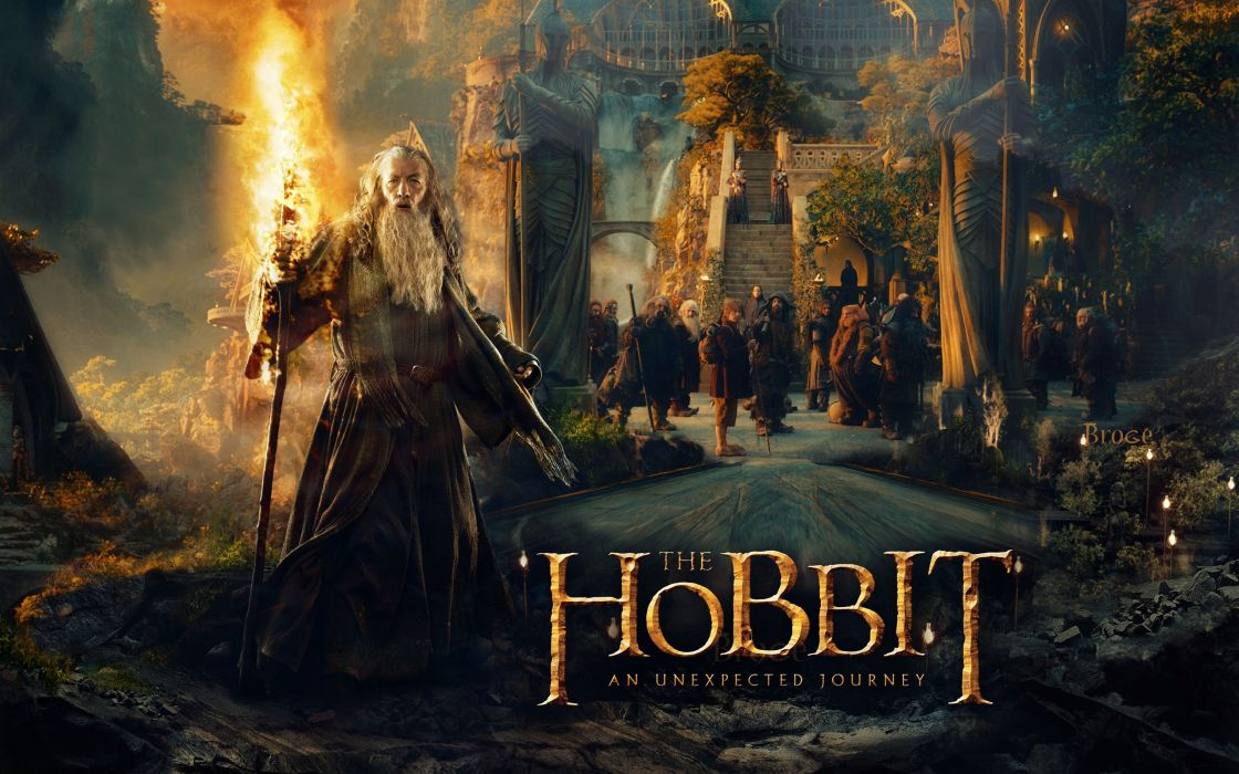 movies Gandalf dwarfs The Hobbit statues Ian Mckellen Rivendell wallpaper
