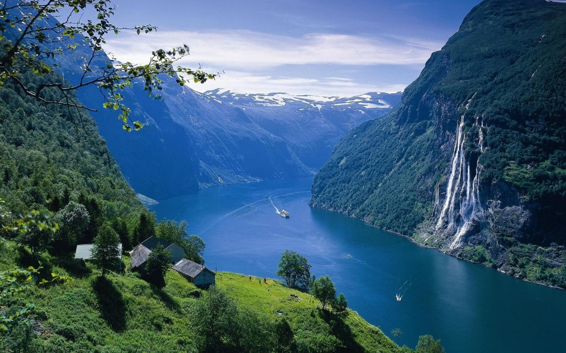 nature Earth Norway waterfalls fjords wallpaper