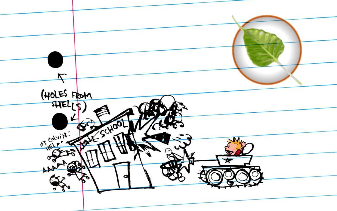 paper Linux Calvin and Hobbes tanks Bodhi Linux wallpaper