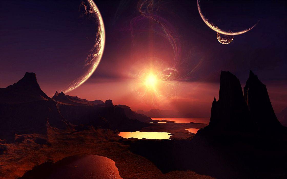 landscapes science fiction wallpaper