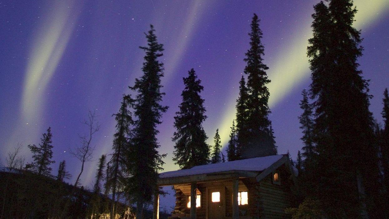 Alaska glow cabin wallpaper