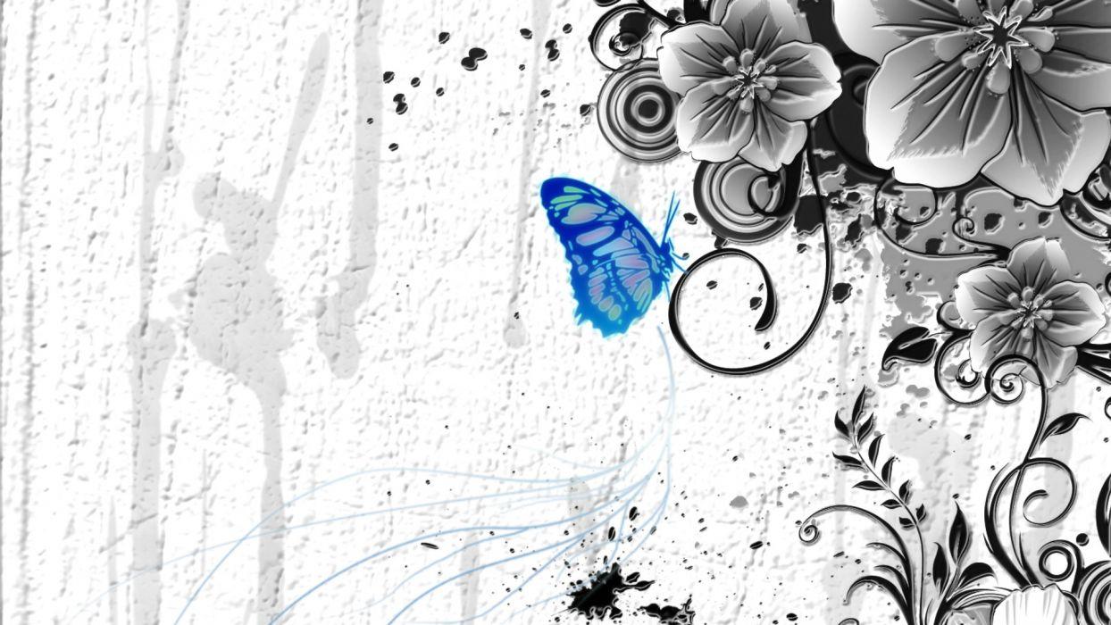 blue flowers selective coloring butterflies wallpaper