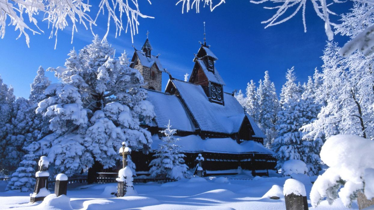 nature winter Poland temples wallpaper
