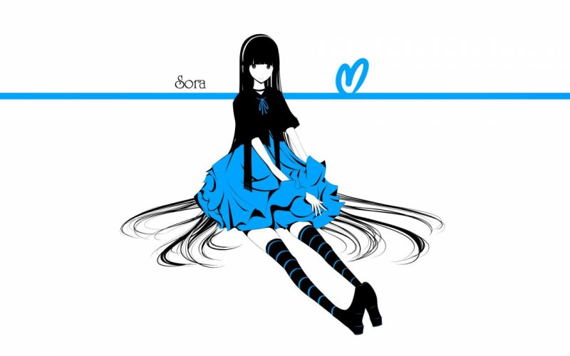 dress text long hair shoes thigh highs smiling sitting collar selective coloring simple background anime girls hair band white background original characters striped legwear haru@ wallpaper