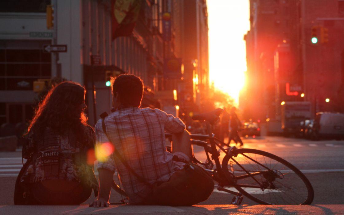 sunset love New York City couple romantic wallpaper