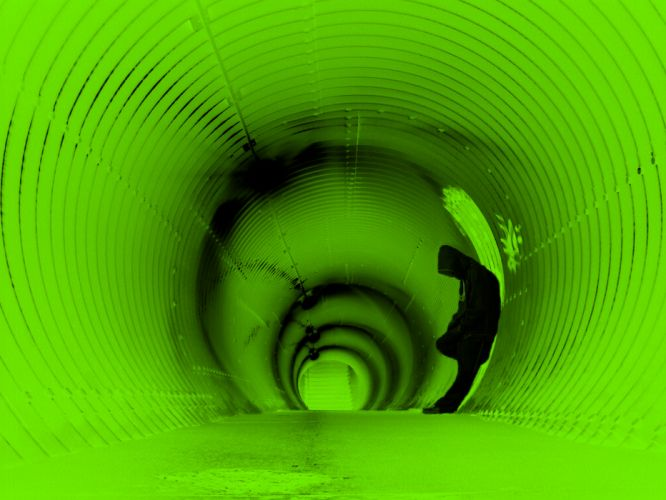 green abstract tunnels lonely wallpaper