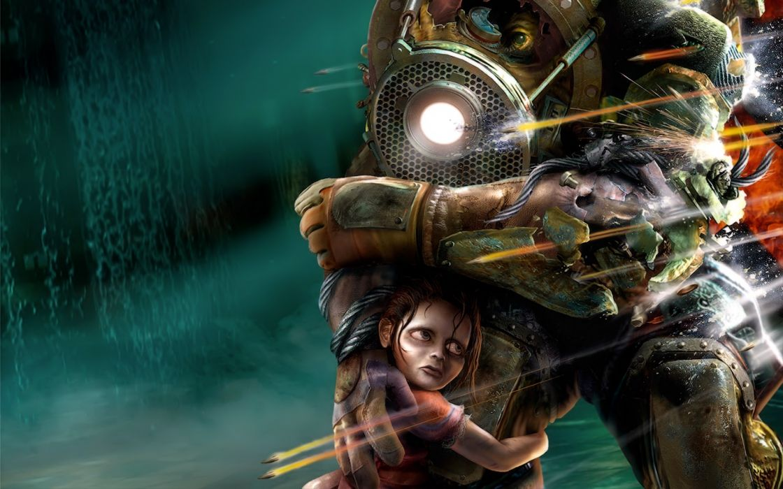 video games Big Daddy Little Sister BioShock wallpaper