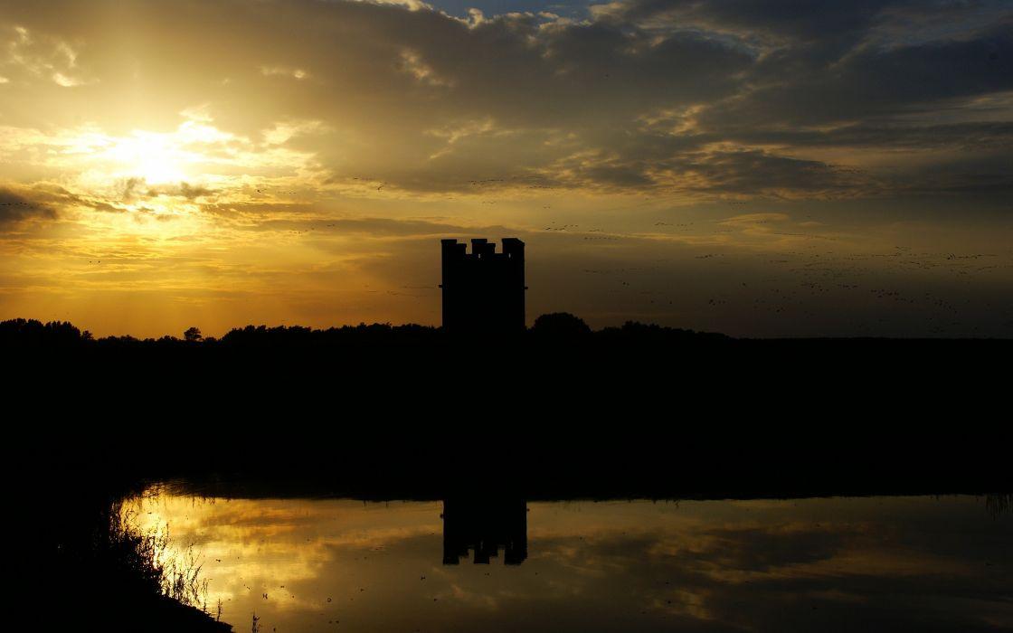 sunset castles wallpaper