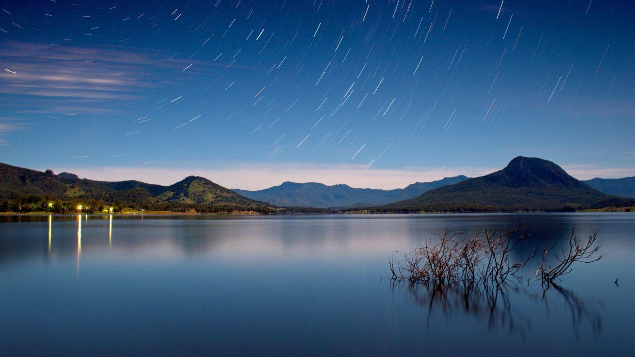 landscapes nature lakes Starry Horizon wallpaper