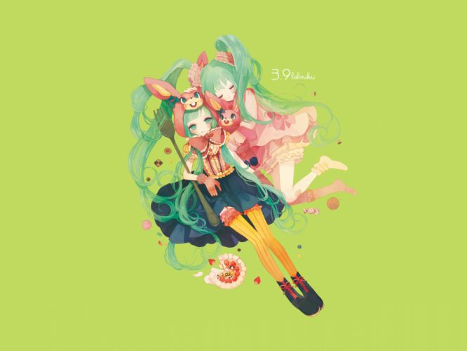 Vocaloid Hatsune Miku twintails simple background wallpaper