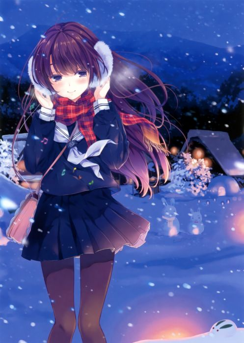 brunettes steam mountains nature winter snow trees school uniforms tie wind skirts long hair outdoors buildings snowmen pantyhose snowflakes smiling shirts scarfs purple eyes anime girls handbag earmuffs scans musical notes original characters wallpaper