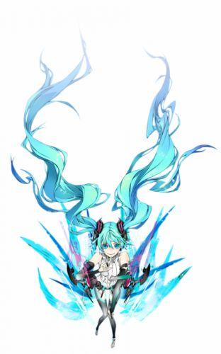 Vocaloid Hatsune Miku long hair bodysuits aqua eyes aqua hair Miwa Shirow Miku Append simple background anime girls white background wallpaper