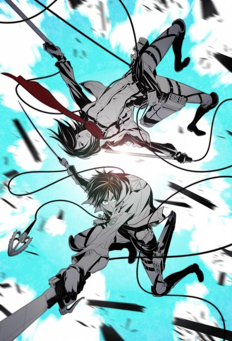 anime anime boys anime girls Shingeki no Kyojin Mikasa Ackerman Eren Jaeger wallpaper