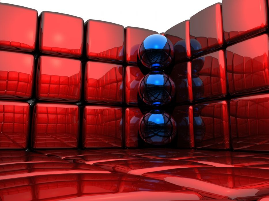 3D view abstract balls cubes 3D renders wallpaper