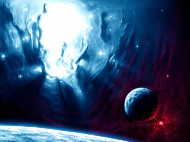 outer space lights stars planets fantasy art moons wallpaper