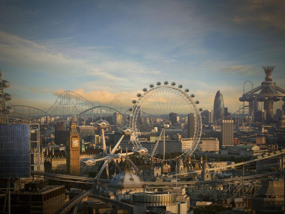 nature London London Eye ferris wheels cities wallpaper