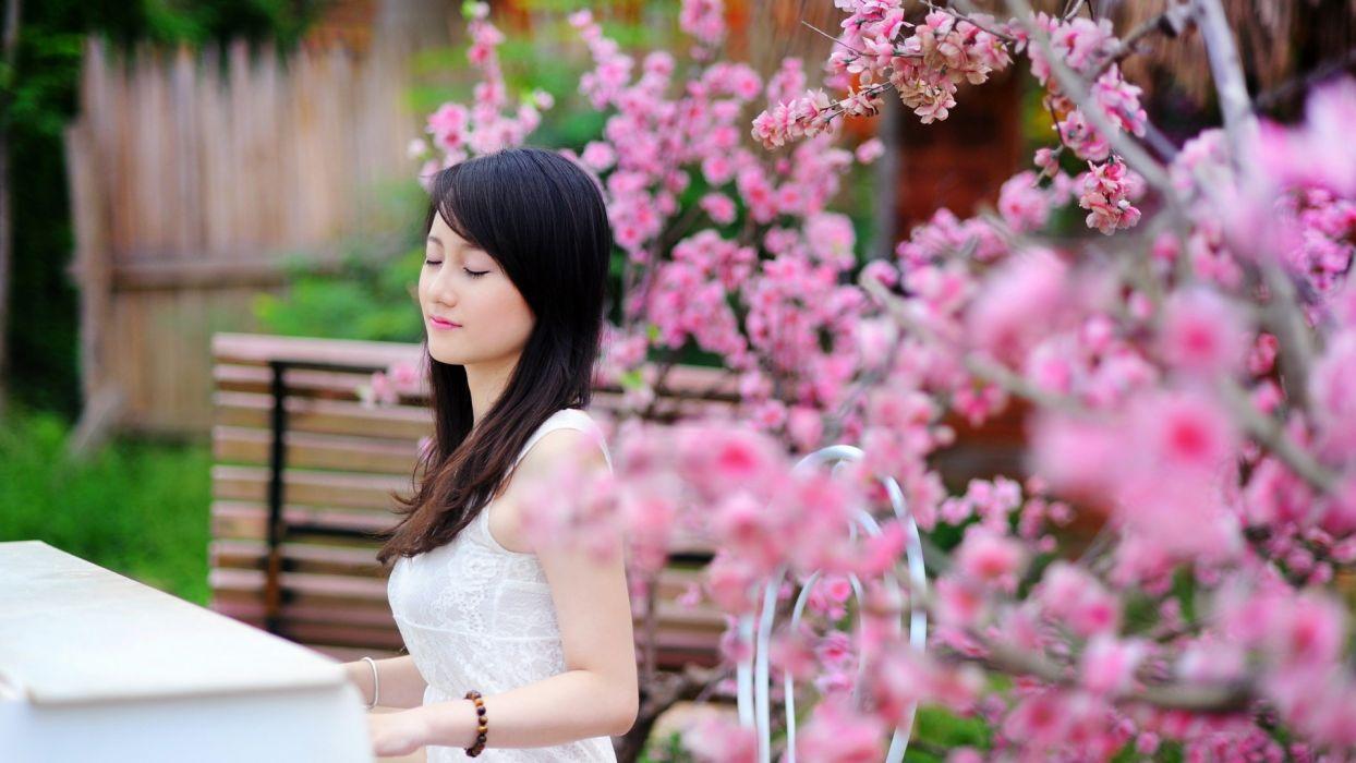 women outdoors Asians closed eyes asian girls wallpaper