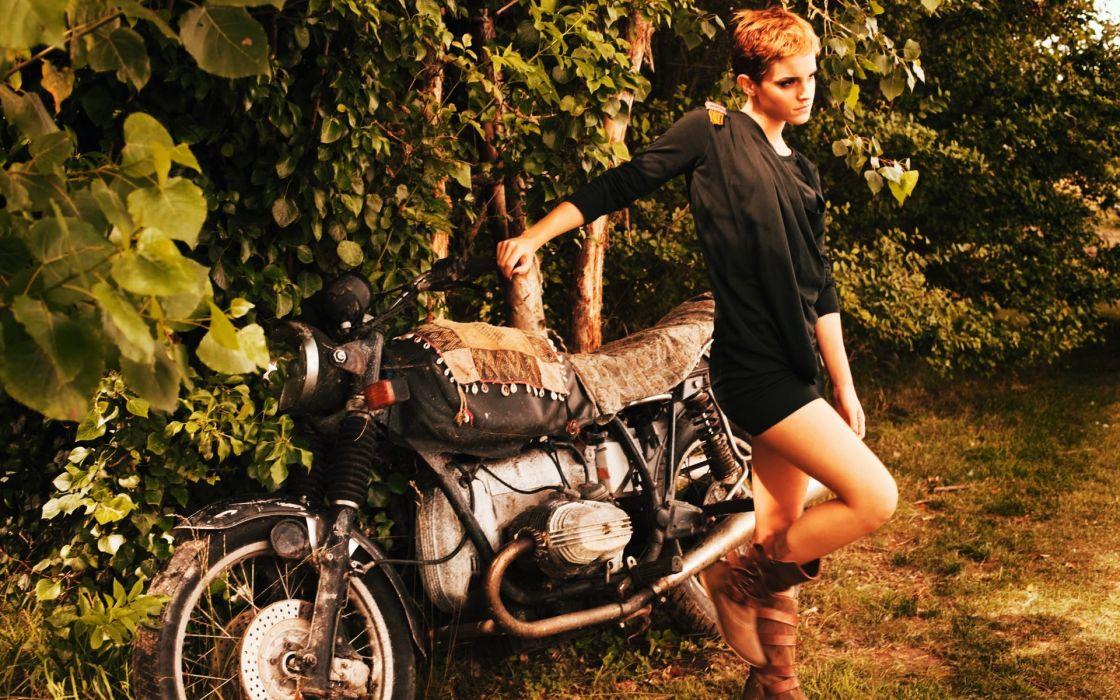 women Emma Watson actress models short hair motorbikes wallpaper