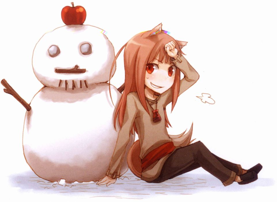 brunettes winter snow Spice and Wolf snowmen animal ears Holo The Wise Wolf apples inumimi wallpaper
