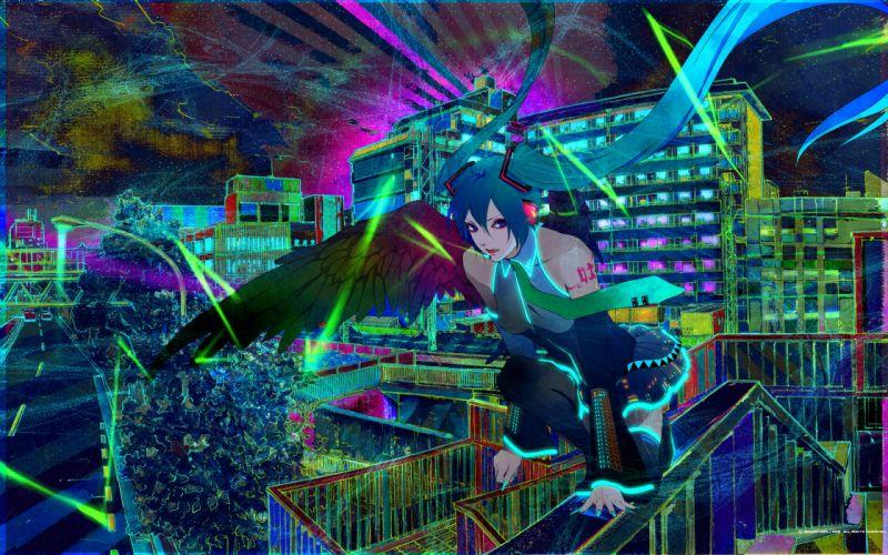 wings Vocaloid Hatsune Miku detached sleeves wallpaper