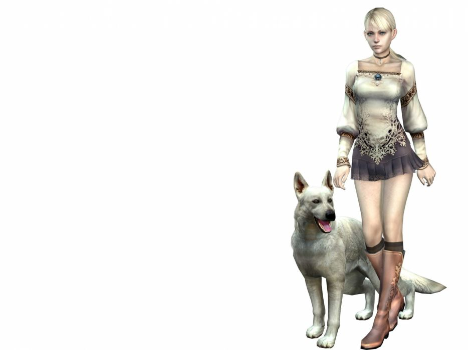 blondes women 3D view video games dogs terror simple background wallpaper