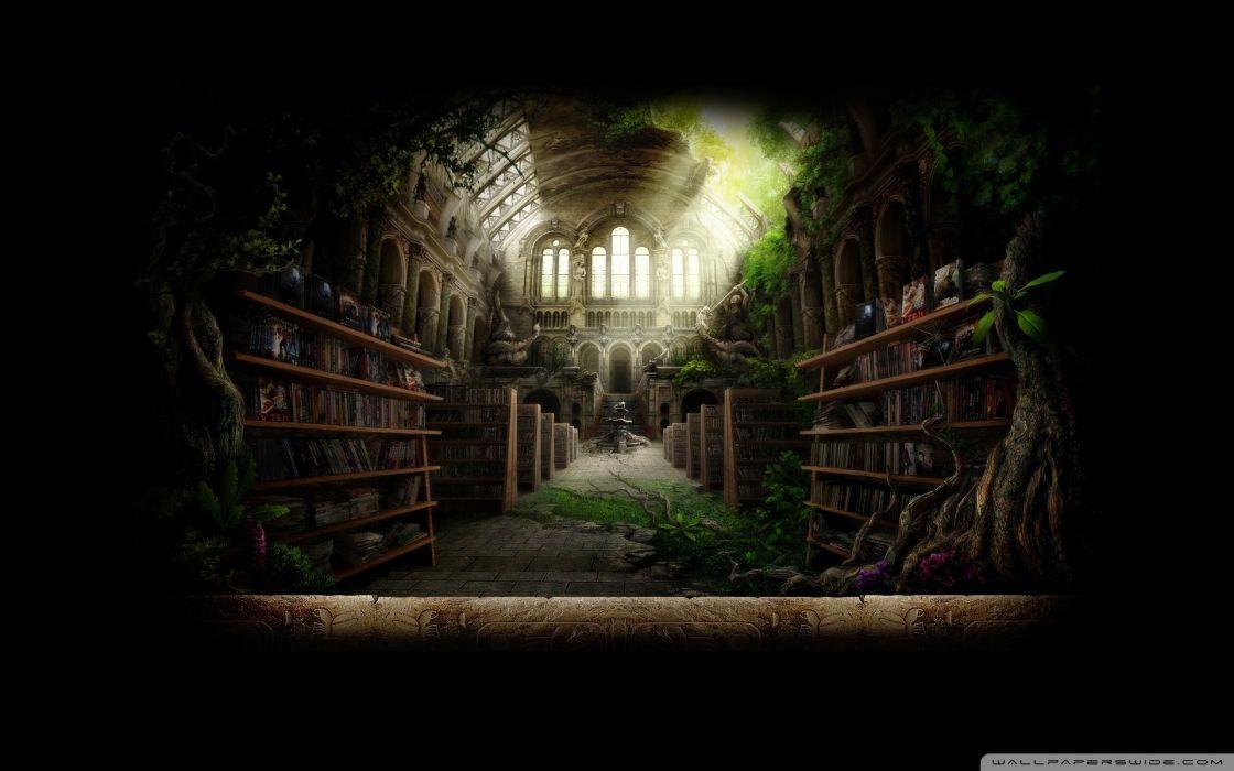 library fantasy art wallpaper