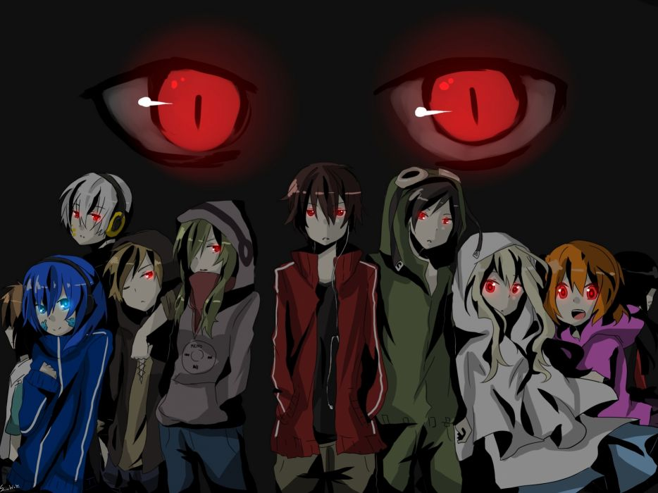women blue eyes long hair red eyes short hair twintails male Kagerou Project wallpaper