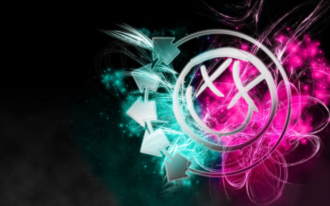 psychedelic smiley face Blink 182 color splash wallpaper