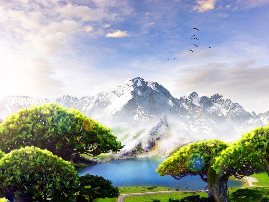 green mountains clouds landscapes trees birds grass artwork skies wallpaper