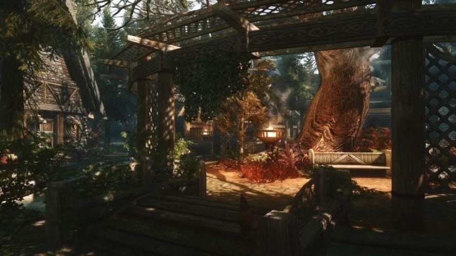 video games nature trees forests animals houses buildings chickens The Elder Scrolls The Elder Scrolls V: Skyrim Game Art wallpaper