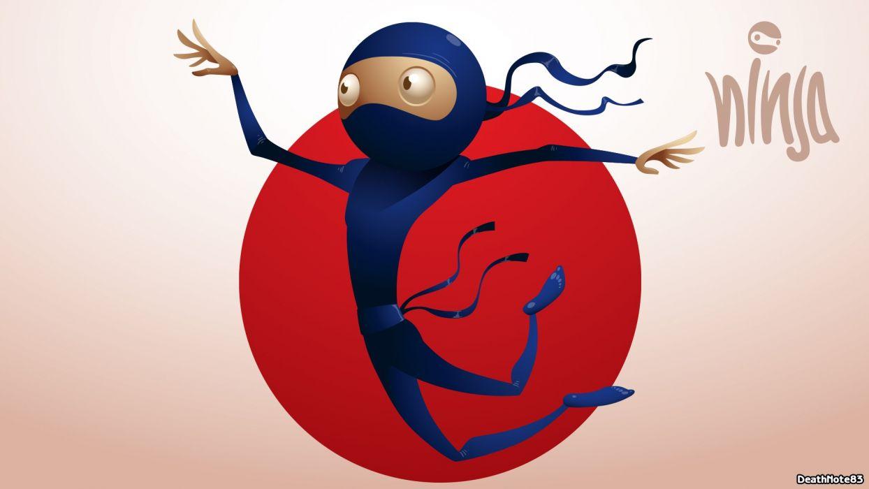 ninjas funny vector art wallpaper