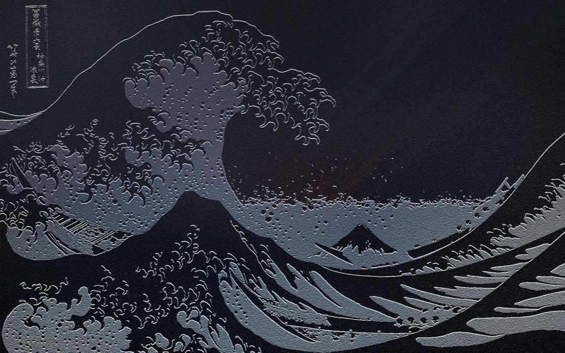 waves Japanese artwork The Great Wave off Kanagawa sea wallpaper