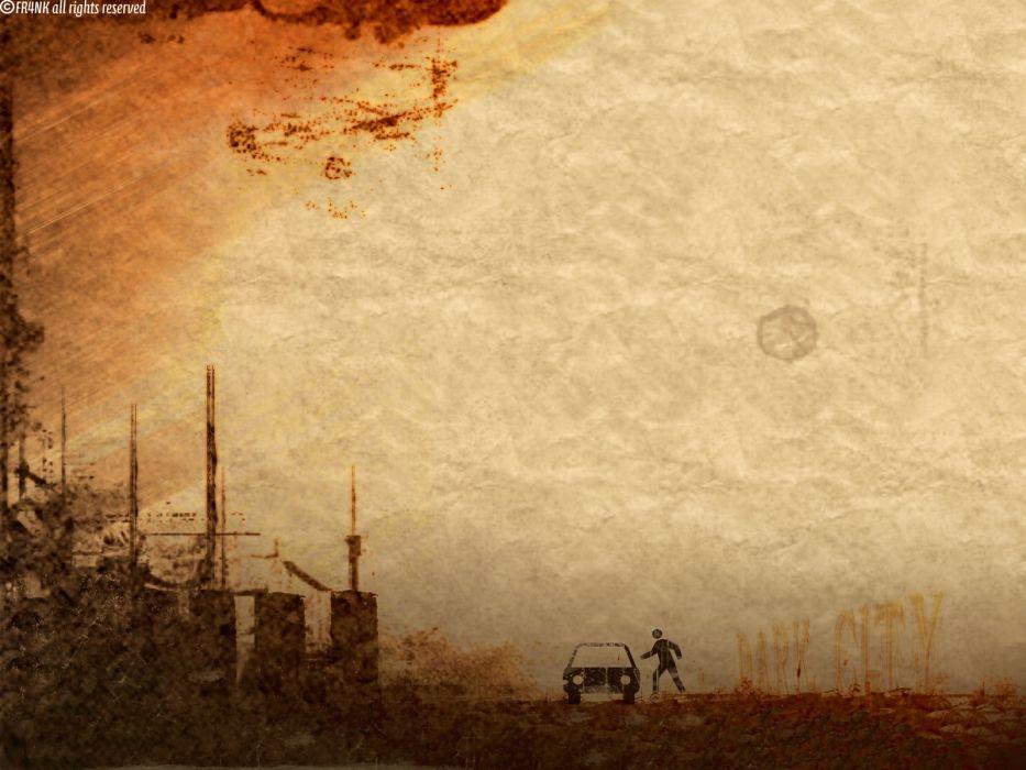 abstract cityscapes grunge Dark City artwork wallpaper