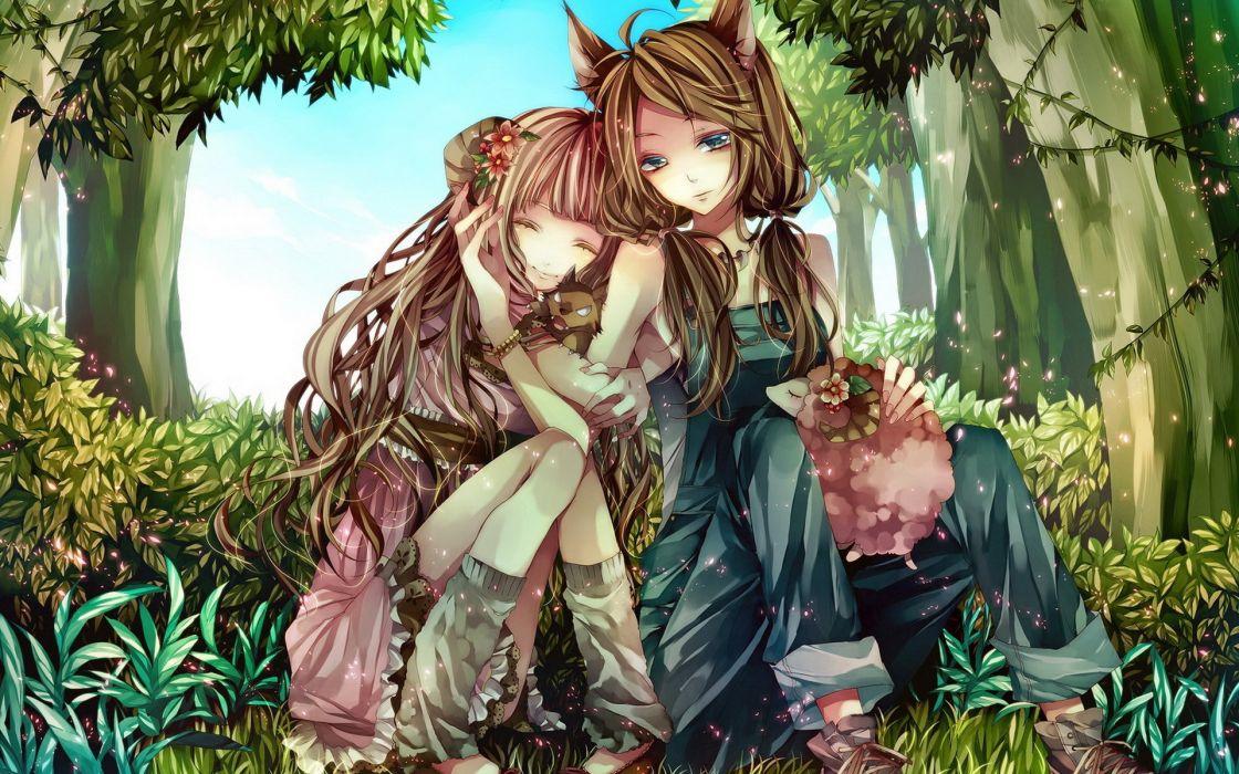 animal ears anime girls original characters Tsukioka Tsukiho wallpaper