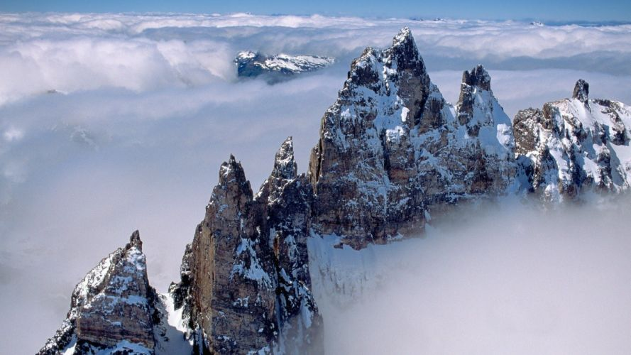 mountains clouds nature snow trees peaks wallpaper