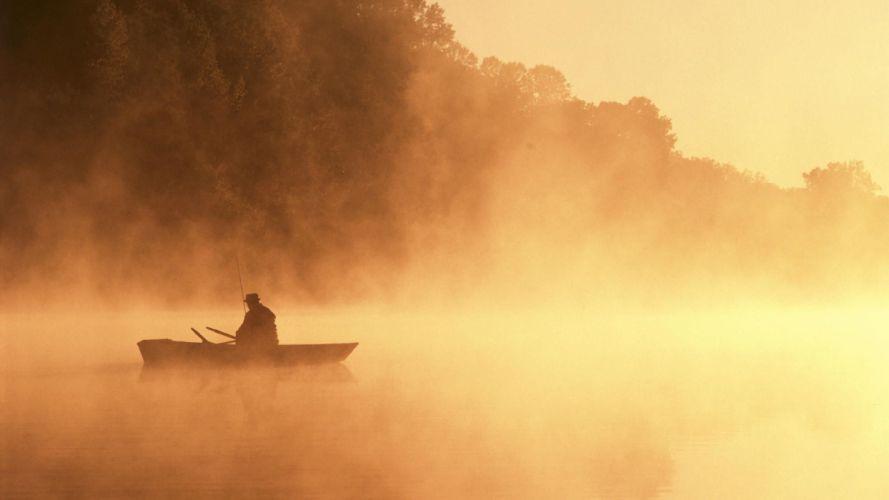silhouettes fog mist sepia boats fishing monochrome wallpaper
