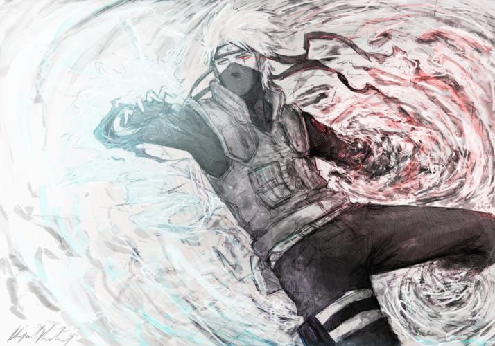 Naruto: Shippuden Sharingan artwork Kakashi Hatake wallpaper