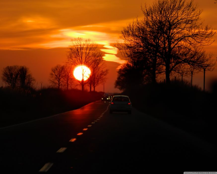 sunset roads wallpaper