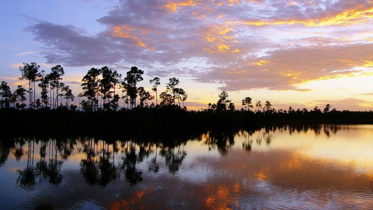sunset clouds landscapes Florida National Park wallpaper