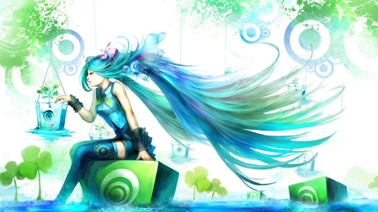 Vocaloid stockings Hatsune Miku patterns long hair anime girls wallpaper
