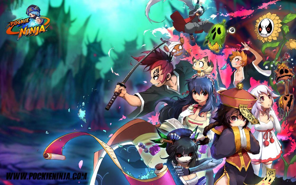 Bleach Kurosaki Ichigo chibi Abarai Renji pockie ninja crossovers Jiraiya wallpaper