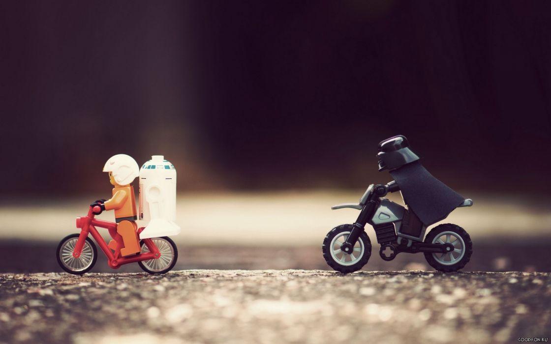 Star Wars bicycles Darth Vader droids Legos wallpaper